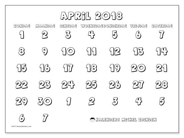 Kalender april 2018 (71ZZ). Kalender voor de maand die gratis moet worden afgedrukt.