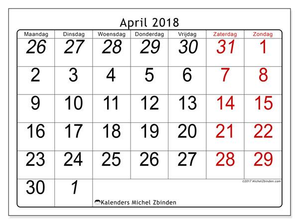 Kalender april 2018 (72MZ). Gratis kalender om af te drukken.