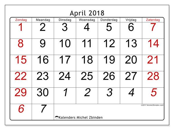 Kalender april 2018 (72ZZ). Gratis kalender om af te drukken.