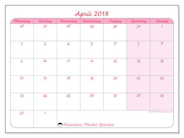 Kalender april 2018 (76MZ). Kalender voor de maand die gratis moet worden afgedrukt.