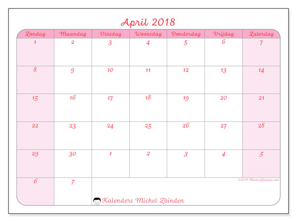 Kalender april 2018 (76ZZ). Gratis kalender om af te drukken.