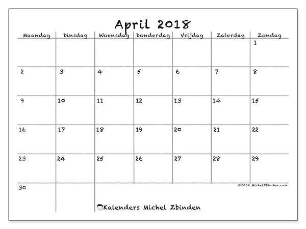 Kalender april 2018 (77MZ). Kalender voor de maand die gratis moet worden afgedrukt.