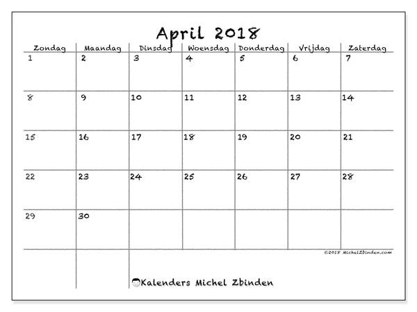 Kalender april 2018 (77ZZ). Kalender om gratis te printen.