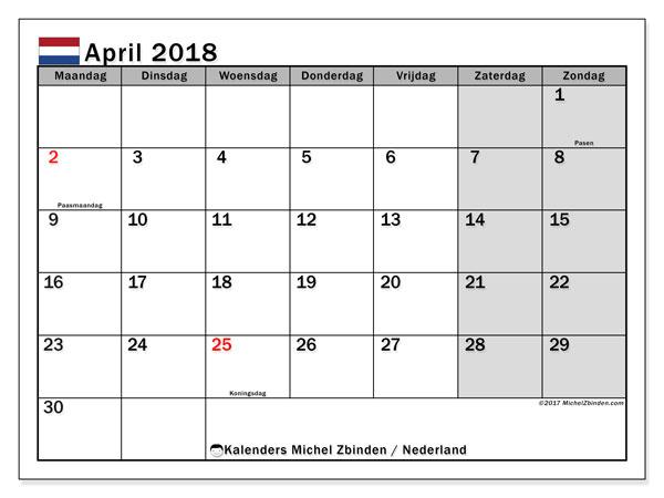 Kalender april 2018 met de feestdagen van Nederland. Maandkalender om gratis te printen.