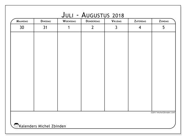Kalender augustus 2018 (43-1MZ). Gratis kalender om af te drukken.