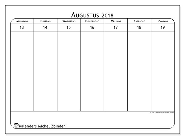 Kalender augustus 2018 (43-3MZ). Kalender om gratis af te drukken.