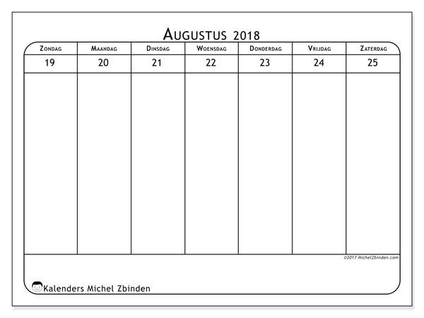 Kalender augustus 2018 (43-4ZZ). Wekelijkse kalender om gratis te printen.