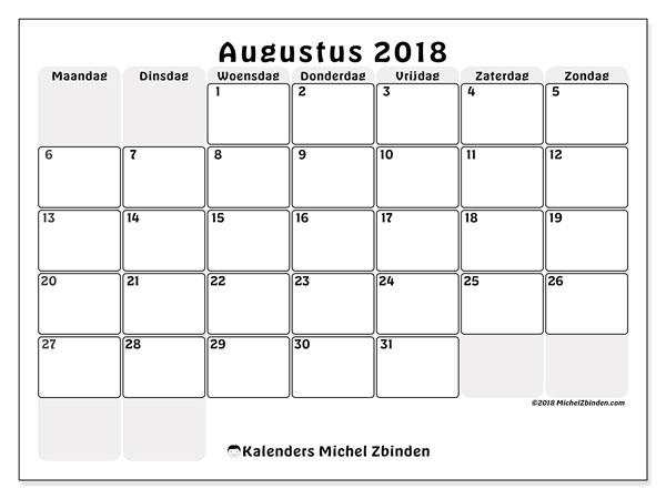 Kalender augustus 2018 (44MZ). Kalender om gratis af te drukken.
