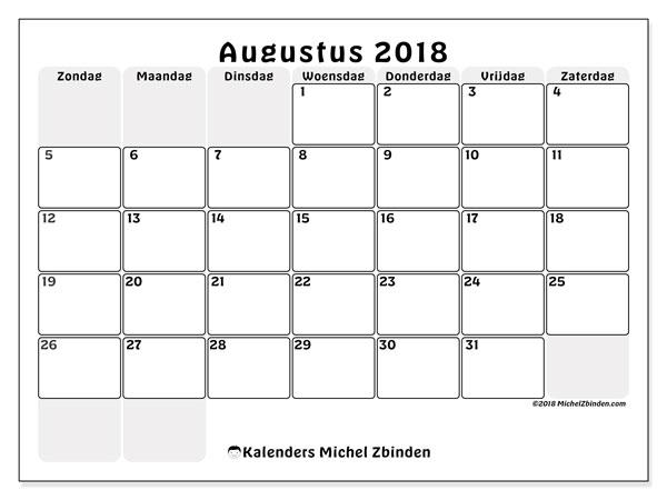 Kalender augustus 2018 (44ZZ). Kalender om gratis af te drukken.