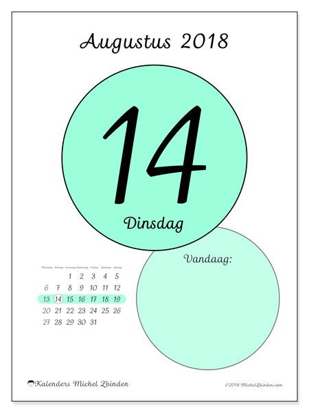 Kalender augustus 2018 (45-14MZ). Kalender voor de dag om gratis te printen.