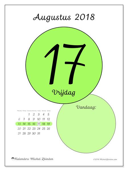 Kalender augustus 2018 (45-17MZ). Kalender voor de dag om gratis te printen.