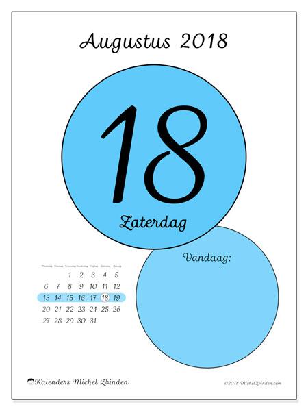 Kalender augustus 2018 (45-18MZ). Dagelijkse kalender om gratis te printen.