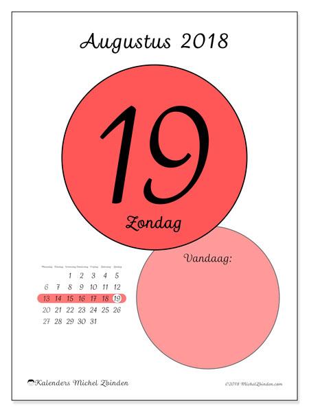 Kalender augustus 2018 (45-19MZ). Kalender voor de dag om gratis te printen.