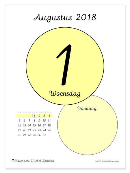 Kalender augustus 2018 (45-1ZZ). Dagelijkse kalender om gratis te printen.