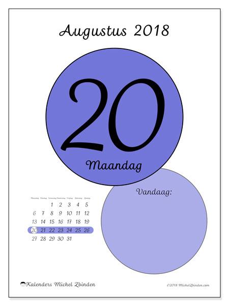 Kalender augustus 2018 (45-20MZ). Dagelijkse kalender om gratis te printen.