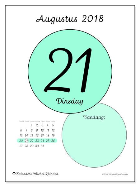 Kalender augustus 2018 (45-21MZ). Kalender voor de dag om gratis te printen.