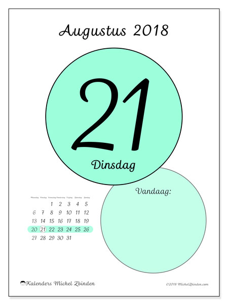 Kalender augustus 2018 (45-21MZ). Dagelijkse kalender om gratis te printen.