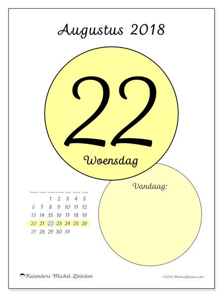 Kalender augustus 2018 (45-22MZ). Kalender voor de dag om gratis te printen.