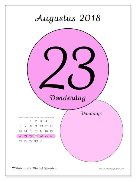 Kalender augustus 2018 (45-23MZ). Kalender voor de dag om gratis te printen.