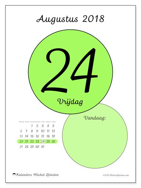 Kalender augustus 2018 (45-24MZ). Kalender voor de dag om gratis te printen.