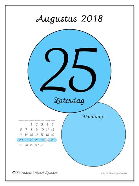Kalender augustus 2018 (45-25MZ). Dagelijkse kalender om gratis te printen.