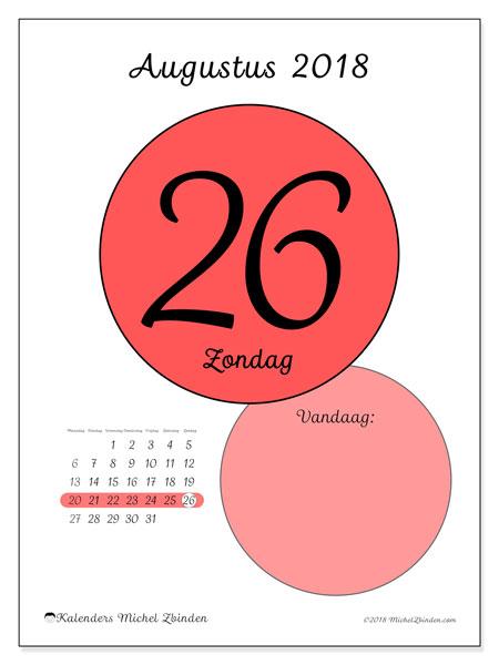 Kalender augustus 2018 (45-26MZ). Dagelijkse kalender om gratis te printen.