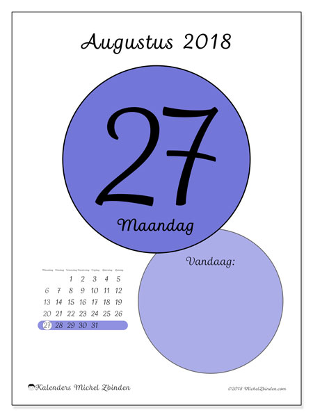 Kalender augustus 2018 (45-27MZ). Dagelijkse kalender om gratis te printen.