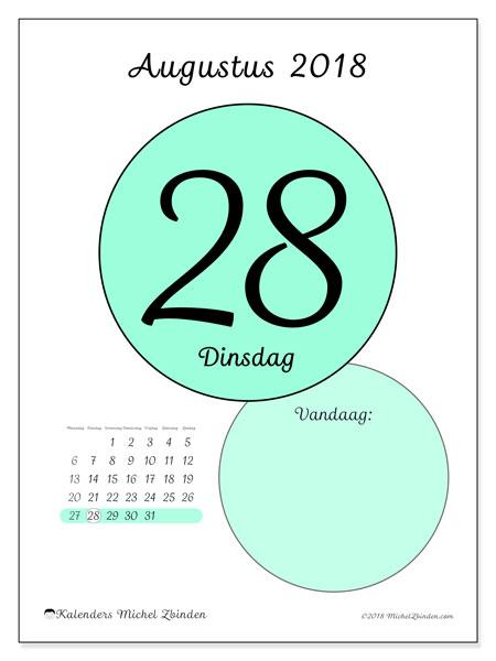 Kalender augustus 2018 (45-28MZ). Kalender voor de dag om gratis te printen.