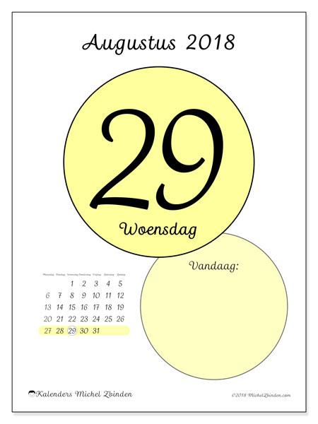 Kalender augustus 2018 (45-29MZ). Kalender voor de dag om gratis te printen.