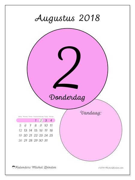 Kalender augustus 2018 (45-2ZZ). Kalender voor de dag om gratis te printen.