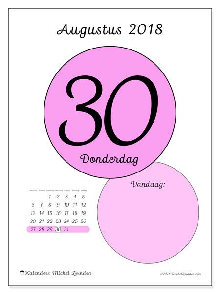 Kalender augustus 2018 (45-30MZ). Kalender voor de dag om gratis te printen.