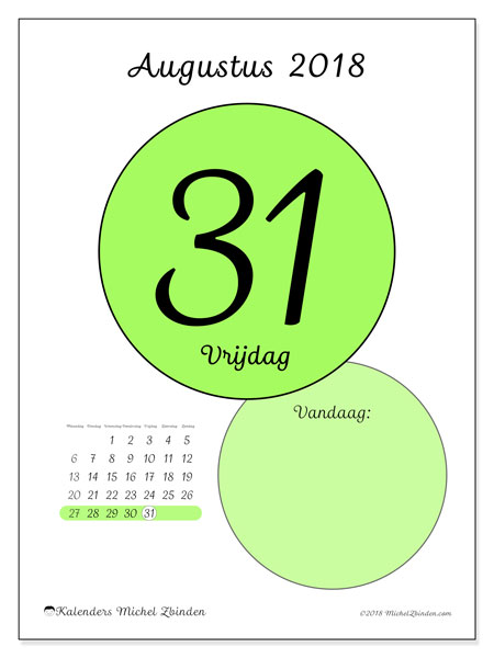 Kalender augustus 2018 (45-31MZ). Kalender voor de dag om gratis te printen.