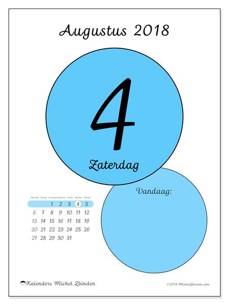 Kalender augustus 2018 (45-4MZ). Kalender voor de dag om gratis te printen.