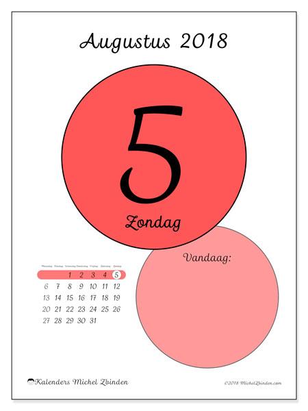 Kalender augustus 2018 (45-5MZ). Kalender voor de dag om gratis te printen.