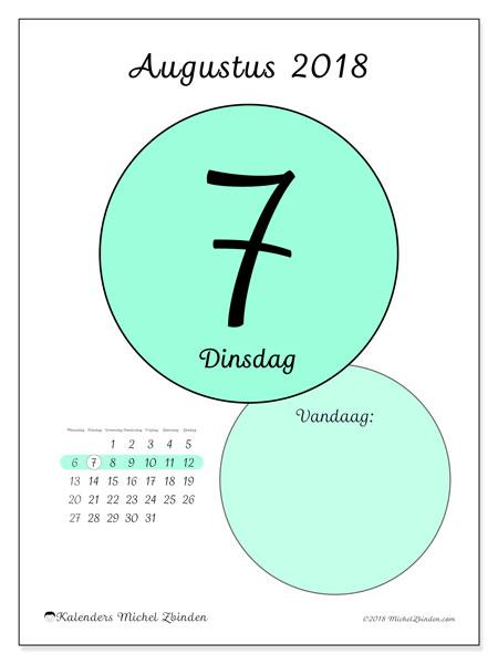 Kalender augustus 2018 (45-7MZ). Kalender voor de dag om gratis te printen.