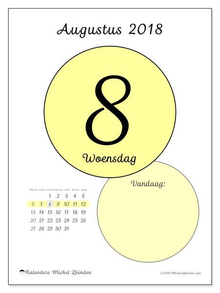 Kalender augustus 2018 (45-8MZ). Dagelijkse kalender om gratis te printen.