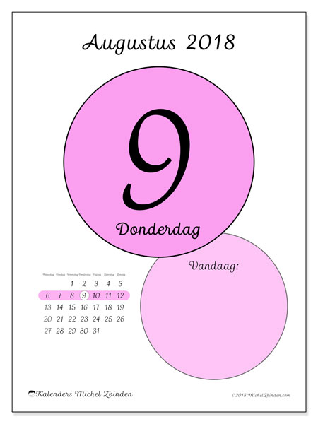 Kalender augustus 2018 (45-9MZ). Dagelijkse kalender om gratis te printen.