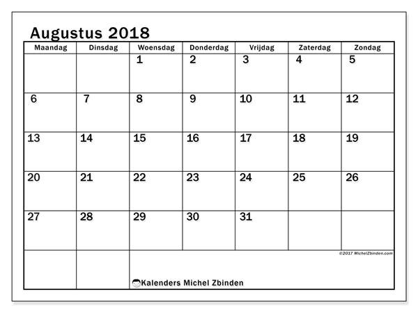 Kalender augustus 2018 (50MZ). Agenda om gratis te printen.