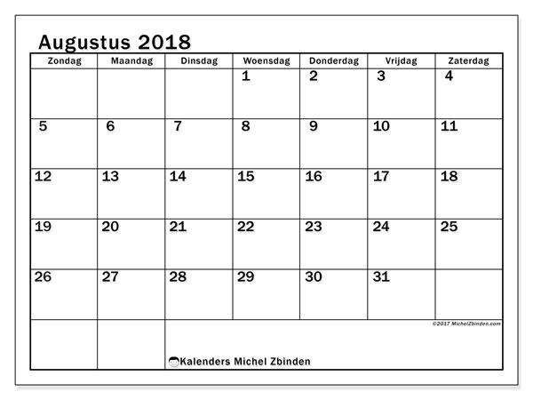 Kalender augustus 2018 (50ZZ). Gratis kalender om af te drukken.