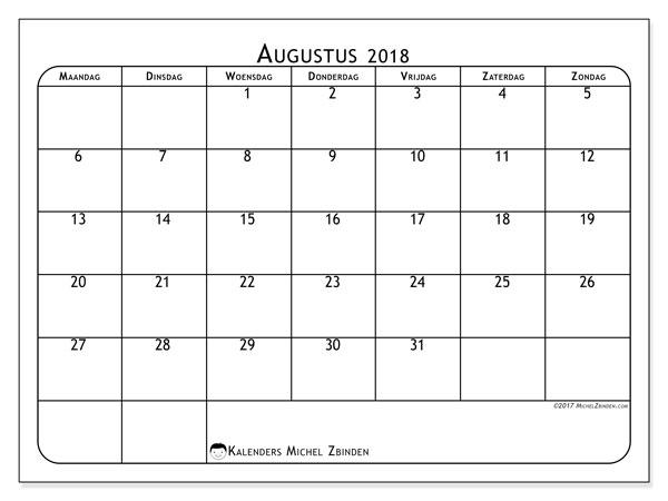 Kalender augustus 2018 (51MZ). Maandkalender om gratis te printen.