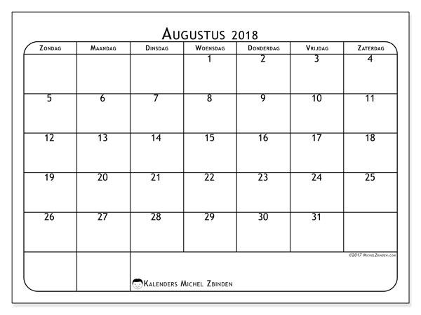 Kalender augustus 2018 (51ZZ). Kalender om gratis af te drukken.