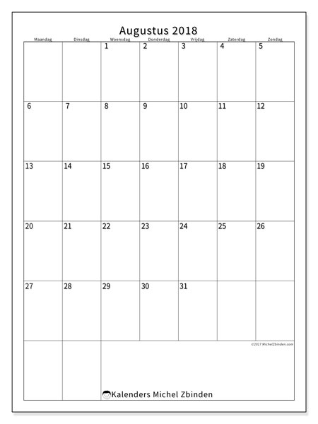 Kalender augustus 2018 (52MZ). Gratis kalender om af te drukken.