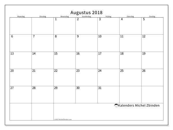 Kalender augustus 2018 (53MZ). Maandkalender om gratis te printen.
