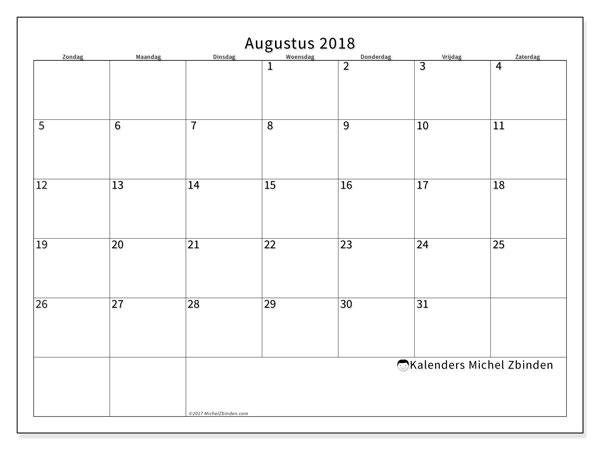 Kalender augustus 2018 (53ZZ). Gratis afdrukbare kalender.