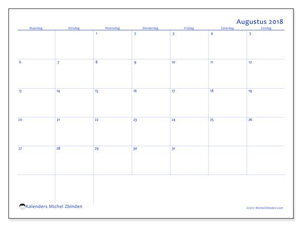 Kalender augustus 2018 (55MZ). Agenda om gratis te printen.