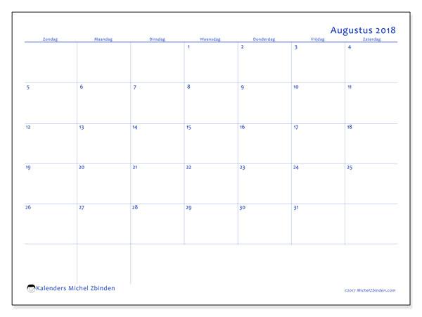 Kalender augustus 2018 (55ZZ). Kalender om gratis te printen.