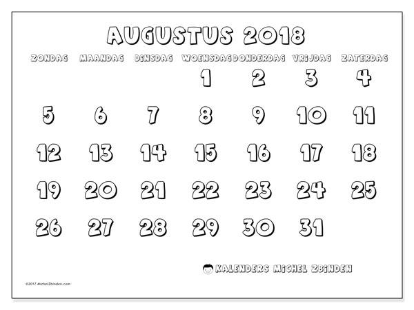 Kalender augustus 2018 (56ZZ). Gratis printbare kalender.