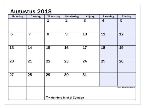Kalender augustus 2018 (57MZ). Gratis afdrukbare kalender.
