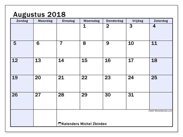 Kalender augustus 2018 (57ZZ). Kalender om gratis te printen.
