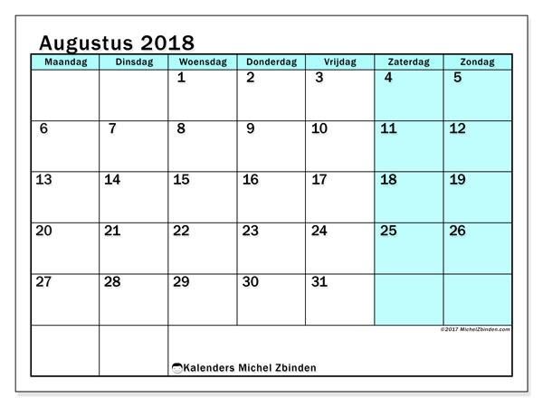 Kalender augustus 2018 (59MZ). Gratis printbare kalender.
